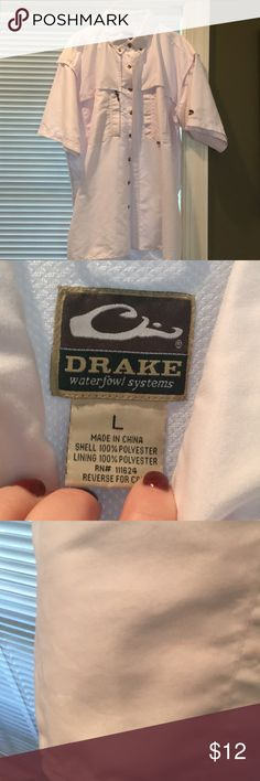 White Drake Shirt Never worn! Great condition, just a couple of very small markings on the shirt that are almost unnoticeable unless you exam very closely drake Shirts