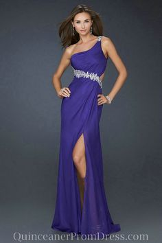 Chiffon One Shoulder Beaded Empire Blue Sexy Prom Dress Open Back.jpg (500×750)