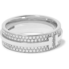 Tiffany Co. 18-karat white gold diamond ring ($6,900) ❤ liked on Polyvore featuring jewelry, rings, white gold rings, 18 karat white gold ring, 18k ring, 18k jewelry and 18k diamond ring