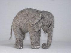 Needle Felted Baby Elephant by Tamara111, via Flickr