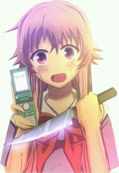 Mirai nikki, anime, girl, kawaii, cute, yuno gasai, pink hair, future diary, psycopathe, phone