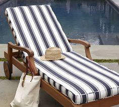 H ll sun lounger cushion ikea reversible two sides to for Blue and white striped chaise lounge cushions