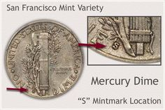 Reverse of San Francisco Mint Mercury Dime Indicating Mintmark Location Old Pennies Worth Money, Rare Coins Worth Money, Valuable Coins, Old Money, Silver Dimes, Silver Coins, Silver Value, Old Coins Value, Antique Coins