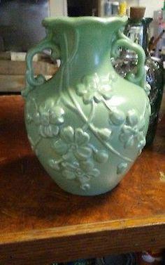 HAEGER Matte loght green Pottery Vase Floral Design number 1028 on nbottom