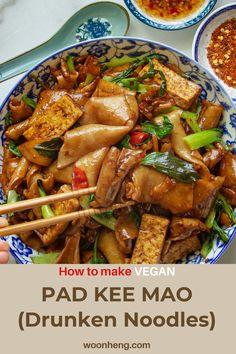 Flat Rice Noodles Recipe, Vegan Noodles Recipes, Asian Noodle Recipes, Vegan Dinners, Veggie Recipes, Vegetarian Recipes, Thai Drunken Noodles, Veggie Meals, Noodles