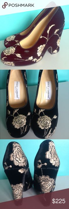 Dolce & Gabbana velvet flamenco style shoes 37.5 Stunning platform pumps  bu Dolce & Gabbano. Absolutely authentic and gorgeous. White embroidered roses  on black velvet. Spanish vintage style. Made in Italy. In excellent condition. Sz 37 1/2 = 7.5 US women Dolce & Gabbana Shoes Platforms