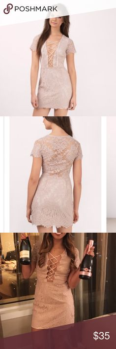 Tobi lace up body con Love this super cute and flattering lace bodycon! Only worn once for my birthday. Still in great condition 👍🏼 hidden zipper on the side Tobi Dresses Mini
