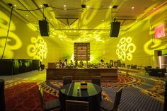 Black Tie & Boots Ball: Atmosphere Lighting used wall color-wash lighting and pattern projections to illuminate one of the four event spaces at the Black Tie and Boots Ball. The colors in this room rotated between blue, yellow, green, and red.