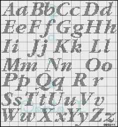 Stickmuster Alphabet - Tours,Trips,Home Decoration,Hairstyle Cross Stitch Letter Patterns, Monogram Cross Stitch, Cross Stitch Charts, Cross Stitch Designs, Stitch Patterns, Crochet Alphabet, Crochet Letters, Embroidery Alphabet, Alphabet Charts