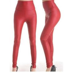 Top Quality Sexy Red Vinyl Leather Fashion Woman Spring Autumn Winter Leggings Adventure Time Gothic High Waist Legging WL1439
