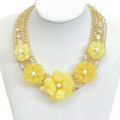 Flower necklace Chain netted flower attached necklace Jewelry Necklaces