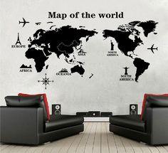 "Muursticker wereldkaart zwart ""map of the world"" te bestellen op Stickerkamer.nl voor slechts €19,95"