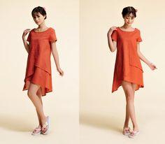 Bird of Paradise/ Multi Layered Linen Dress with A Cute Front Yoke Seam/ 22 Colors/ RAMIES