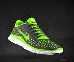 Cheapest Mens Nike Free 3.0 V4 Dark Grey Electric Green Wolf Grey Black Lace Shoes - Click Image to Close