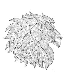 Free coloring page coloring-adult-africa-lion-head-profile. Lion head drawing, from profile