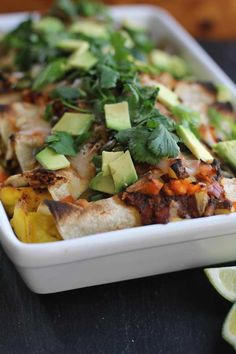 Delicious! Perfect blend of multiple flavors, and quite satisfying for those who appreciate a sweet and savory balance. Some time involved in preparation and assembly, but otherwise a very simple recipe. Huevos Rancheros Enchiladas Recipe from Oh My Veggies!