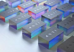 Polish designer Marcin Usarek created these incredible iridescent business cards for ILNP, a boutique nail lacquer company.  More graphic design via Behance