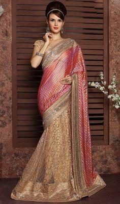 Beige and Multicolor Shade Net Half N Half Sari
