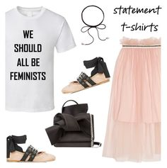 """Say What: Statement T-Shirts"" by ivka-detektivka ❤ liked on Polyvore featuring Mother of Pearl, Miu Miu, N°21 and statementtshirt"
