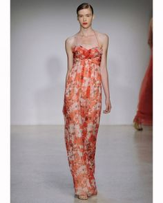 A pretty floral bridesmaid dress by Amsale, Fall 2013 Printed Bridesmaid Dresses, Empire Bridesmaid Dresses, Bridesmaid Dress Styles, Floral Bridesmaids, Celebrity Wedding Dresses, Celebrity Weddings, Celebrity Style, Orange Wedding Themes, Fall Dresses
