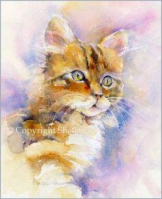 Kitten-Watercolor-Painting-by-Sheila-Gill.jpg 408×504 pixels