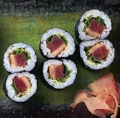 SEARED TUNA SUSHI ROLLS   http://www.finecooking.com/recipes/seared-tuna-sushi-rolls.aspx  ⇨ Follow City Girl at link https://www.pinterest.com/citygirlpideas/ for great pins and recipes!  ☕