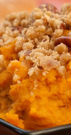 Aunt Peggy's Sweet Potato Souffle Recipe You can also sub mini-marshmallows for topping. Side Dish Recipes, Fish Recipes, Whole Food Recipes, Cooking Recipes, Side Dishes, Sweet Potato Casserole, Sweet Potato Recipes, Sweet Potato Delight Recipe, Casserole Dishes