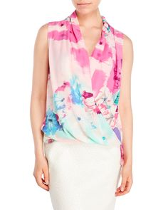 Milano Floral Draped Georgette Blouse