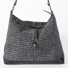 5c8fec8ee33e HOBO HANDBAG GREY   CHARCOAL DOGTOOTH - SALE - Catherine Aitken