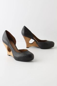 I love these cut out wedge pumps #Anthropologie #anthrofave