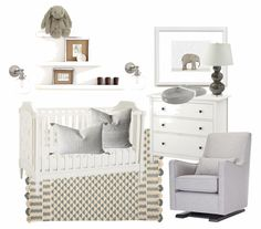 This past week I've been helping my friend, Lynn, design a calm, gray and  white nursery for her baby boy. Living in New York City and converting an  office/guest room into a nursery is always a challenge, but I think we were  able to come up with some really great ideas using pieces of furniture she  already owns and a few accents to round out the space.