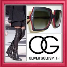 I am still obsessing over these sold out/impossible to find CHANEL CHAIN BOOTS and these beautiful Oliver Goldsmith MOOSH sunglasses in matte black and red. What a great match for an outfit, don't you think? At least the OG sunnies are still available to buy (wiping the sweat off my forehead).  Find them on our website. www.eyewearbyolga.com #eyewearbyolga #ebo #ebolove #olivergoldsmith #OG #mycglife #icons #chanel #chanelchainboots #mypassionforfashion #LEF #luxury #avantguard #style