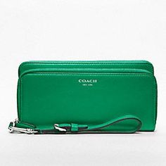 Green! (need I say more?)   LEGACY LEATHER DOUBLE ACCORDION ZIP