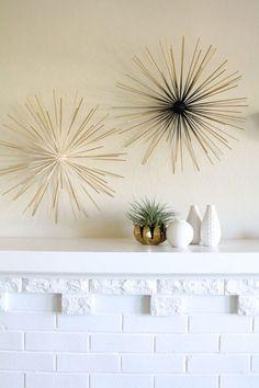 "We love this DIY art project. Stryofoam balls, 10"" bamboo sticks and spray paint. Bingo...instant modern decor!"