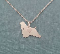 American Cocker Spaniel Necklace, Sterling Silver Personalize Pendant, Breed Silhouette Charm Rescue Shelter by DiBAdog on Etsy