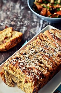 Whole wheat herbed garlic pull-apart bread @FoodBlogs