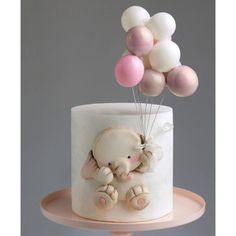 Baby Girl Birthday Cake, Baby Girl Cakes, First Birthday Cakes, Elegant Birthday Cakes, Beautiful Birthday Cakes, Bolo Rapunzel, Cake Designs For Kids, Beautiful Cake Designs, Balloon Cake