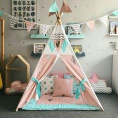 @AranzaDrive ❁ Kids Play Teepee, Diy Teepee, Teepee Tent, Teepees, Dream Bedroom, Girls Bedroom, Sleepover Birthday Parties, Camping With A Baby, Easy Paper Crafts