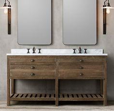 "Printmaker's Double Washstand DIMENSIONS Vanity Sink with Top: 66""W x 24""D x 33¾""H Vanity Base: 65½""W x 23¾""D x 32½""H"