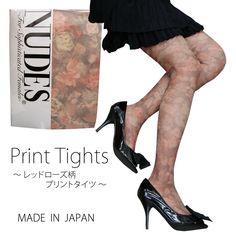 Nudes - プリントタイツ レッドローズ柄 - http://item.rakuten.co.jp/maxim-socks/32005/