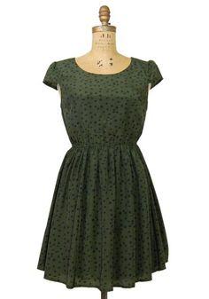 forest green polka dot dress
