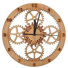 Giftgarden Friends gifts Wood #Gear #Wall #Clocks for Home Dcorations