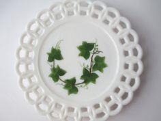 Vintage Milk Glass Lacy Green Ivy Plate by mymilkglassshop on Etsy