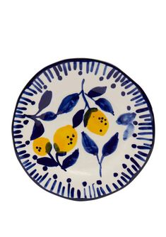 Tabletops Gallery Lemon Orchard 9 Inch Salad Plate | belk Lenox French Perle, Blue And White Dinnerware, Orchard Design, Devon Cottages, Coton Colors, Chip And Dip Bowl, Crochet Hair Styles, Salad Plates, Garden Styles