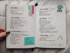 Weekly bullet journal layout :) Journal is a Peter Pauper Press Essentials gridded 5x8 notebook.
