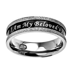 """Christian Womens Stainless Steel Abstinence Black Ebony Champagne Beloved Chastity Ring for Girls - """"I Am My Beloved's And He Is Mine"""" Songs of Solomon 6:3 - Girls Purity Ring Spirit & Truth, http://www.amazon.com/dp/B0091HX5FK/ref=cm_sw_r_pi_dp_Rnauqb1KQWPRE"""