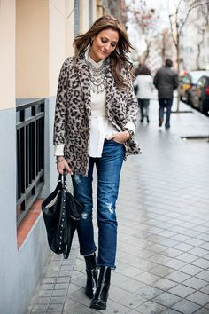 Hakei Leopard Wool Coat   #Chic Casual Streetstyle Clothing #Hakei Leopard Wool Coat #Zara Crop Sweater #White Shirt Zara #Distressed Jeans Mango #Eric Gallais Studded Tote #Leather Boots Zara