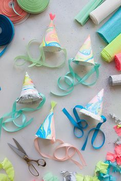 DIY Marbleized Party Hats