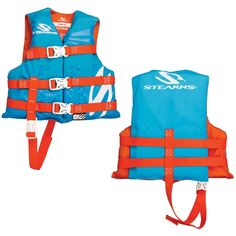 """Stearns Child Classic Nylon Vest Life Jacket - 30-50lbs - Abstract Wave. Clhild Classic Nylon Vest Life Jacket - 30-50lbs - Abstract WaveChildren 30-50lbsFeatures: Nylon Construction Crosstech® Foam Open-Sided Vest Leg Strap Three-Buckle Design Specifications: USCG Approved: Yes Type: III Size: Child Color: Graphics Box Dimensions: 3""""H x 13""""W x 13""""L WT: 0.7 lbs UPC: 044411005810."""