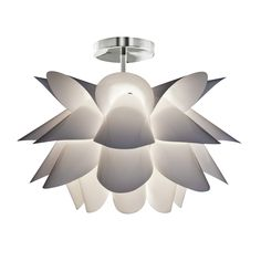 Shop Style Selections 23.23-in Sydney White Textured Flower Design Semi-Flush Mount Light at Lowes.com